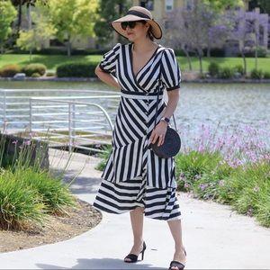 Striped Button Midi Dress